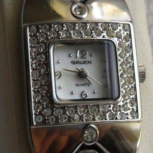 Gruen   Silver Bracelet Watch w/Crystal Accents